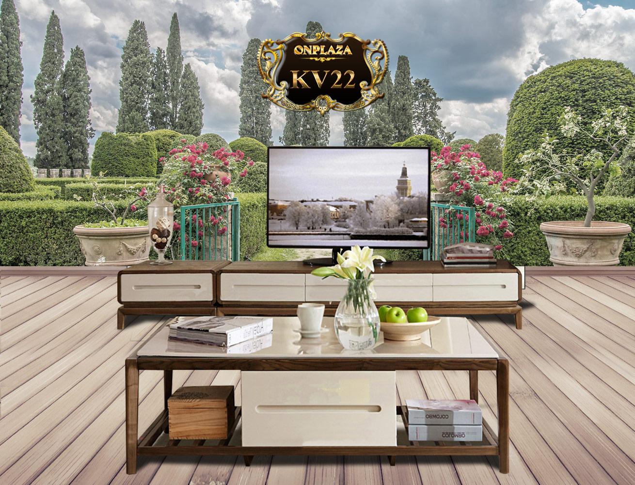 Banner quảng cáo bộ bàn trà kệ tủ tivi phòng khách đẹp sang trọng