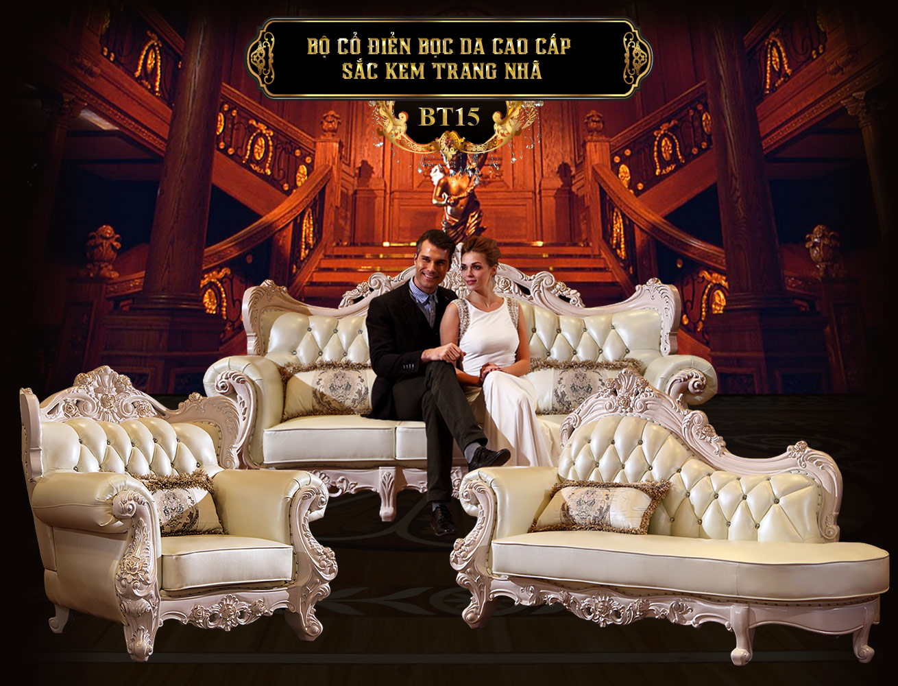 Bộ sưu tập bàn ghế sofa tân cổ điển châu âu hoàng gia đẹp