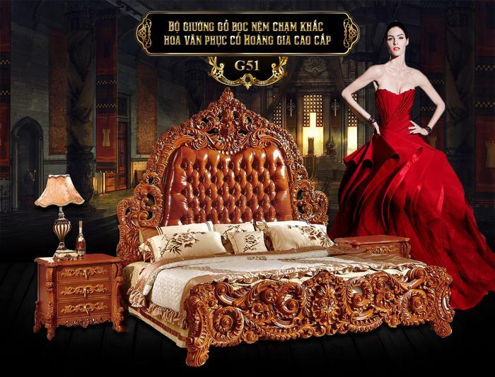 Bộ giường gỗ bọc nệm hoa văn phục cổ G51A, giường ngủ gỗ đẹp tại Hà Nội