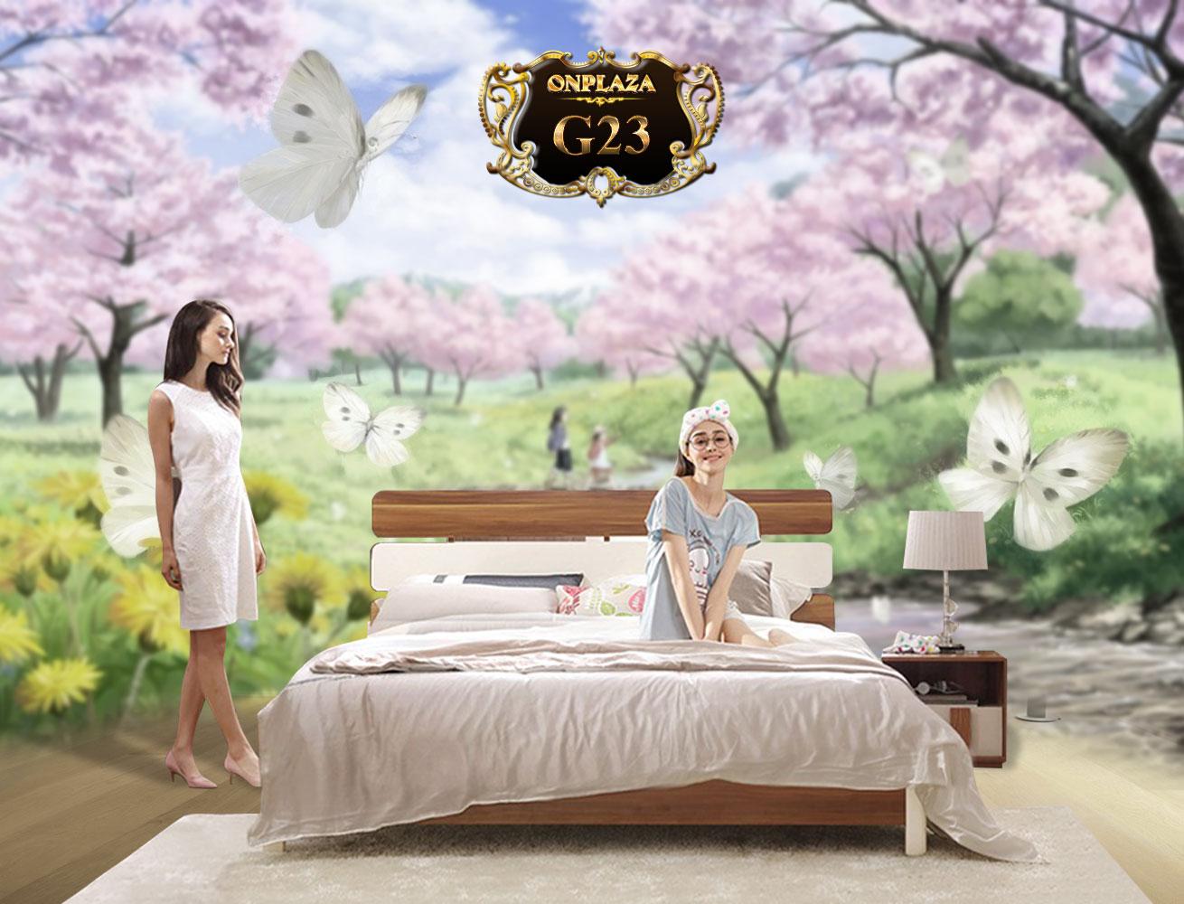 Bộ giường gỗ hiện đại + 2 Tab giường cao cấp G23 | Bộ giường ngủ đẹp gỗ tự nhiên | Giường ngủ hiện đại cho nhà nhỏ