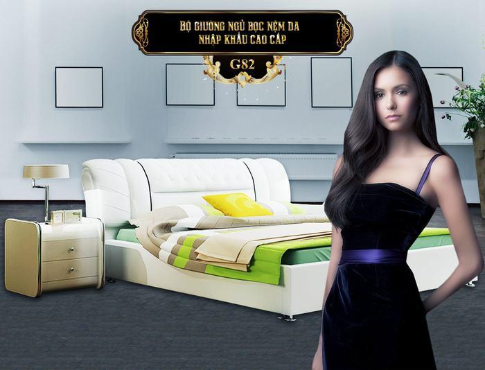 Bộ giường ngủ bọc nệm da G82-2 (Vàng kem) | Giường ngủ hiện đại nhập khẩu | Mua giường ngủ tại Hà Nội