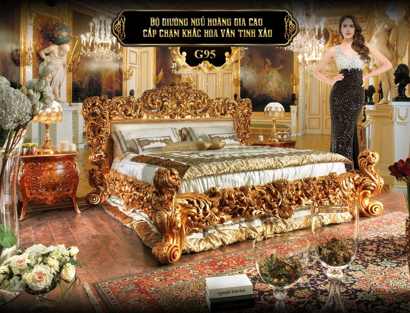 Bộ giường ngủ cao cấp G95 | giường ngủ cao cấp | Giường ngủ gỗ tự nhiên nhập khẩu