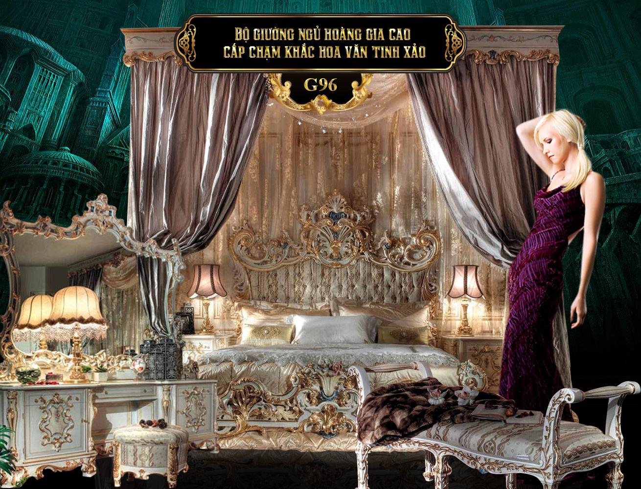 Bộ giường ngủ hoàng gia cao cấp G96 | Giường tân cổ điển hoàng gia | Giường ngủ tân cổ điển gỗ đẹp