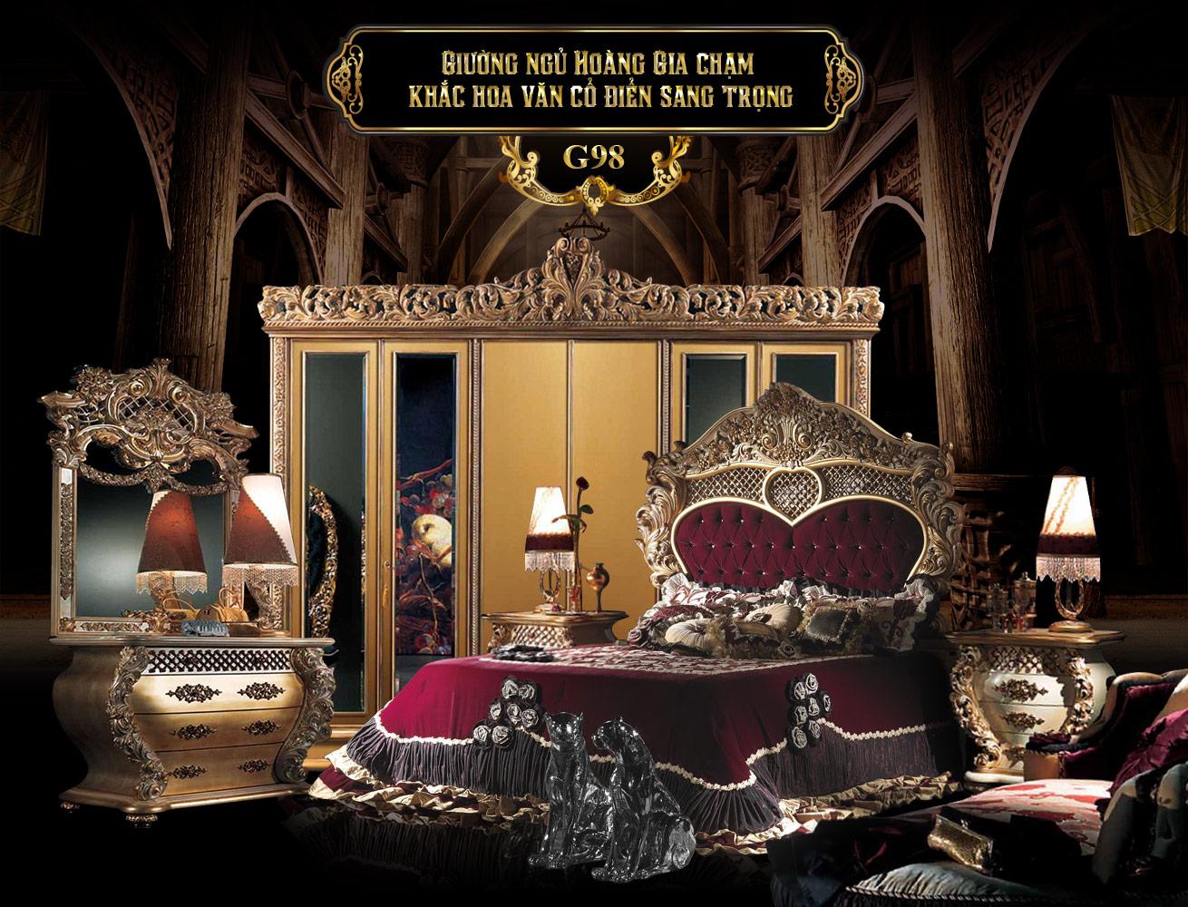 Giường ngủ hoàng gia sang trọng G98-1  | Giường ngủ cổ điển đẹp | Giường ngủ gỗ tự nhiên đẹp