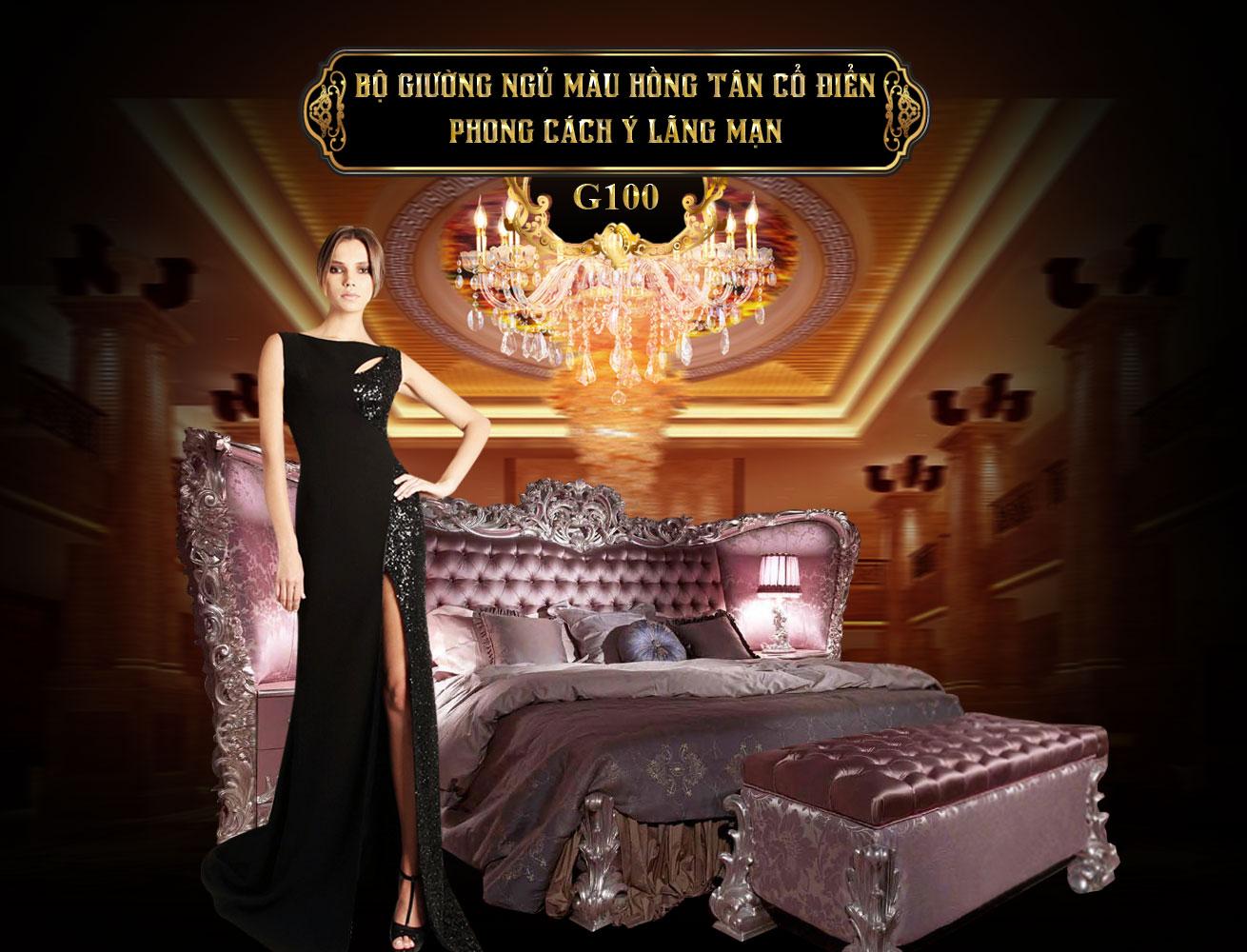 Bộ giường ngủ màu hồng tân cổ điển G100