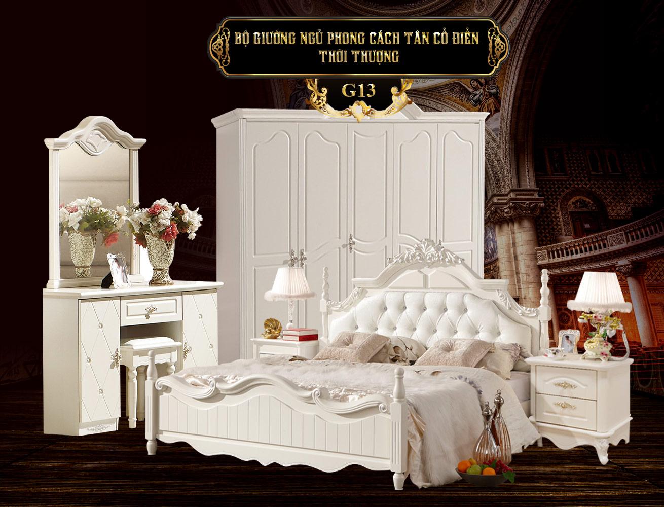 Giường ngủ cao cấp phong cách tân cổ điển G13a-1 bằng gỗ tự nhiên giá rẻ nhất