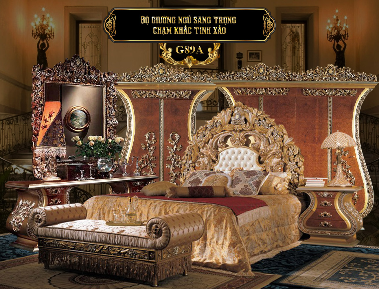 Bộ giường ngủ sang trọng G89A gỗ Tần bì   Giường ngủ gỗ Tần Bỳ nhập khẩu cao cấp