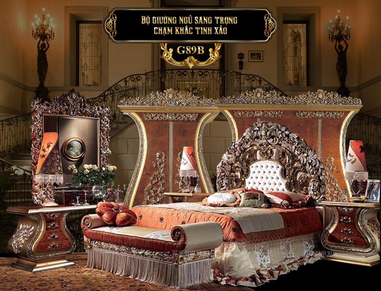 Bộ giường ngủ sang trọng G89B gỗ tự nhiên, giường ngủ gỗ Sồi đẹp nhập khẩu