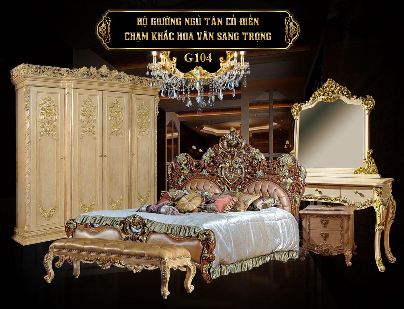 Banner bộ giường ngủ tân cổ điển châu âu G104