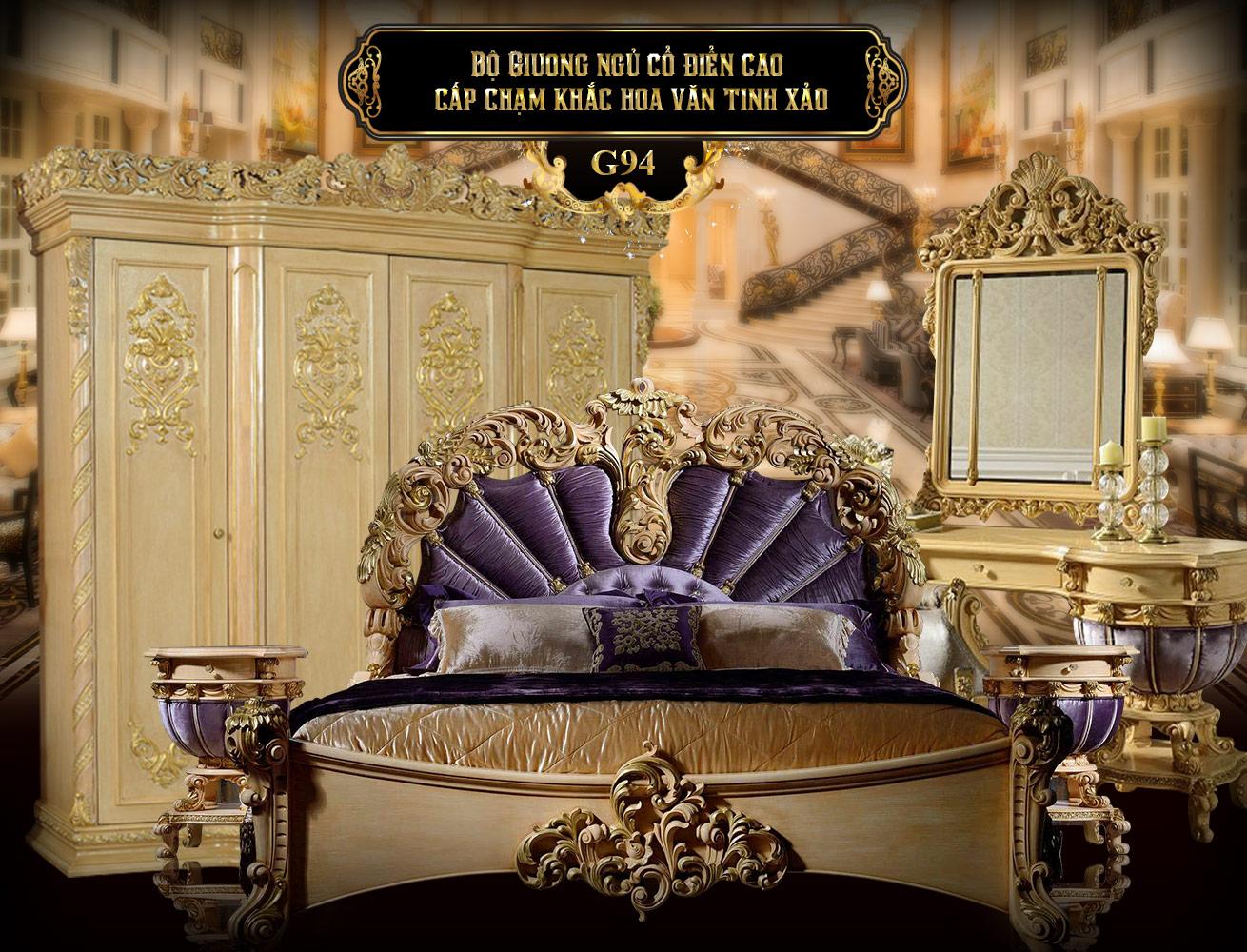 Bộ giường ngủ cổ điển cao cấp G94A, giường cổ điển chạm khắc hoa văn đẹp nhập khẩu