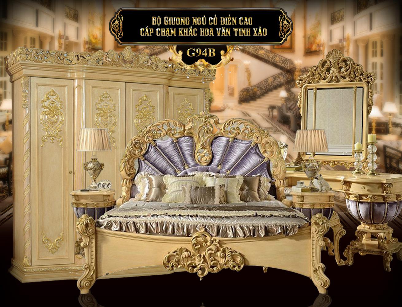 Bộ giường ngủ cổ điển G94B | Giường ngủ cổ điển giá rẻ tại Hà Nội | Mua bộ giường cổ điển