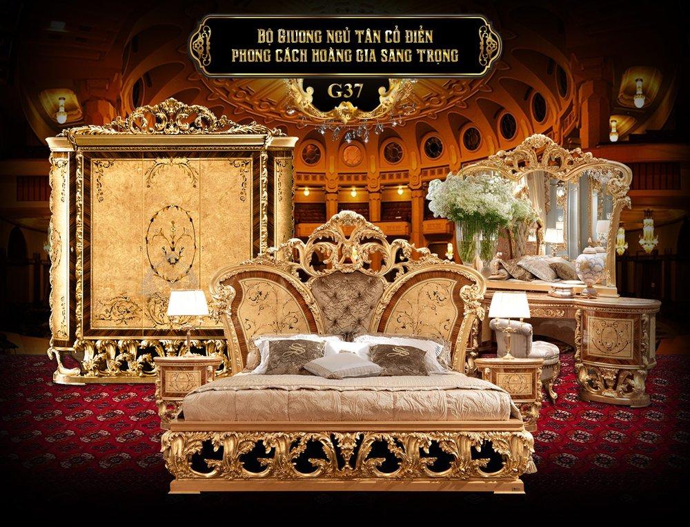Bộ giường ngủ tân cổ điển phong cách hoàng gia G37, giường gỗ cao cấp nhập khẩu, giường gỗ đẹp