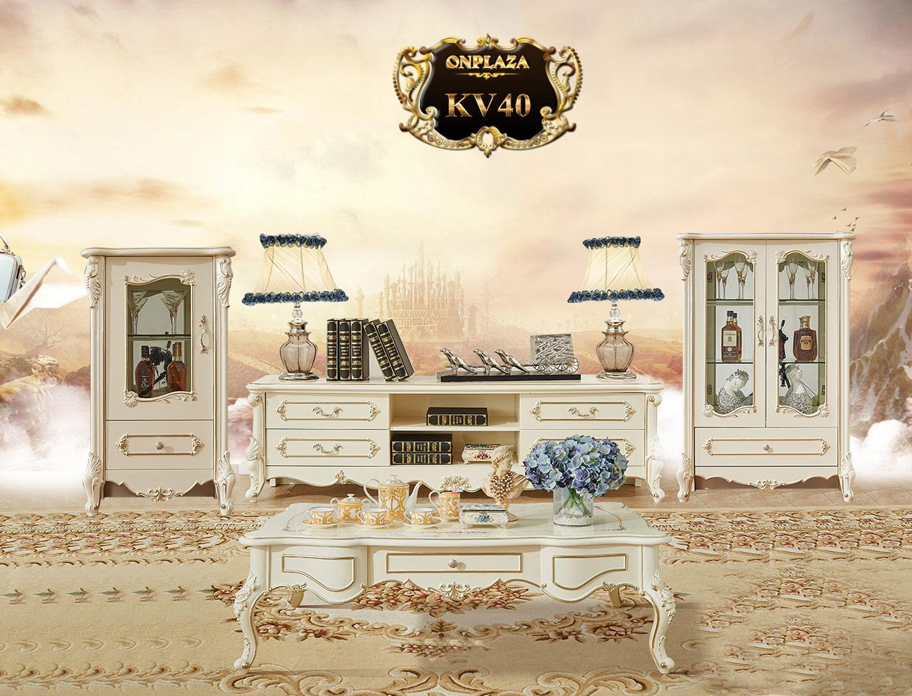 Banner kệ tủ tivi + bàn trà phòng khách đẹp bằng gỗ phong cách tân cổ điển châu âu KV40