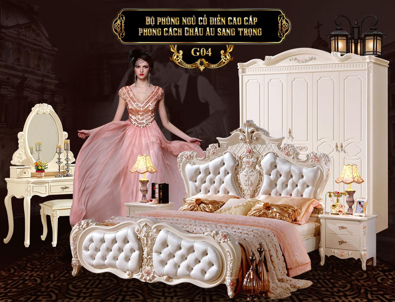 Giường ngủ tân cổ điển cao cấp G04a, giường tân cổ điển giá rẻ tại Hà Nội