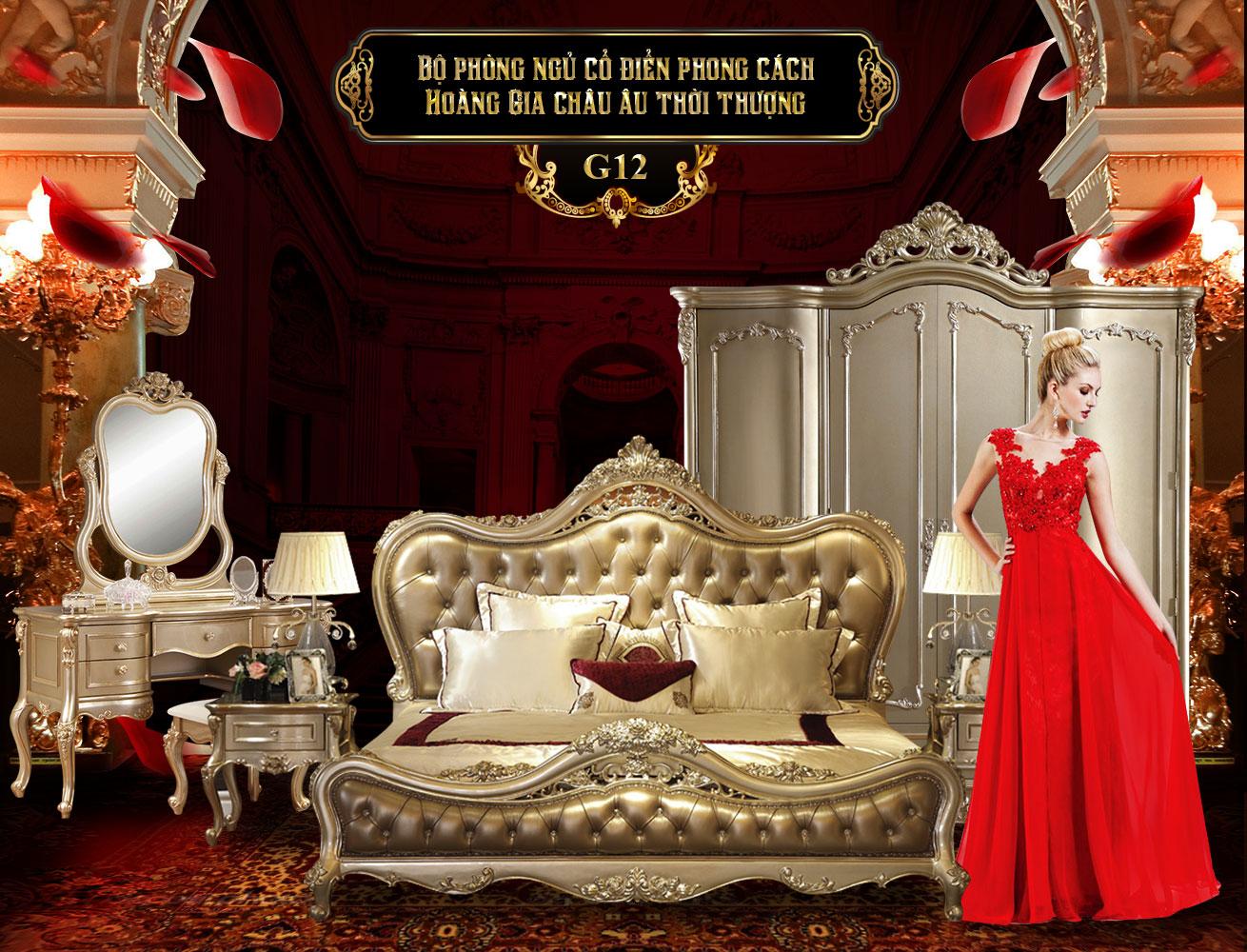Giường ngủ cổ điển phong cách Châu Âu G12-1 | Giường gỗ đẹp | Giường gỗ sồi tại Hà Nội