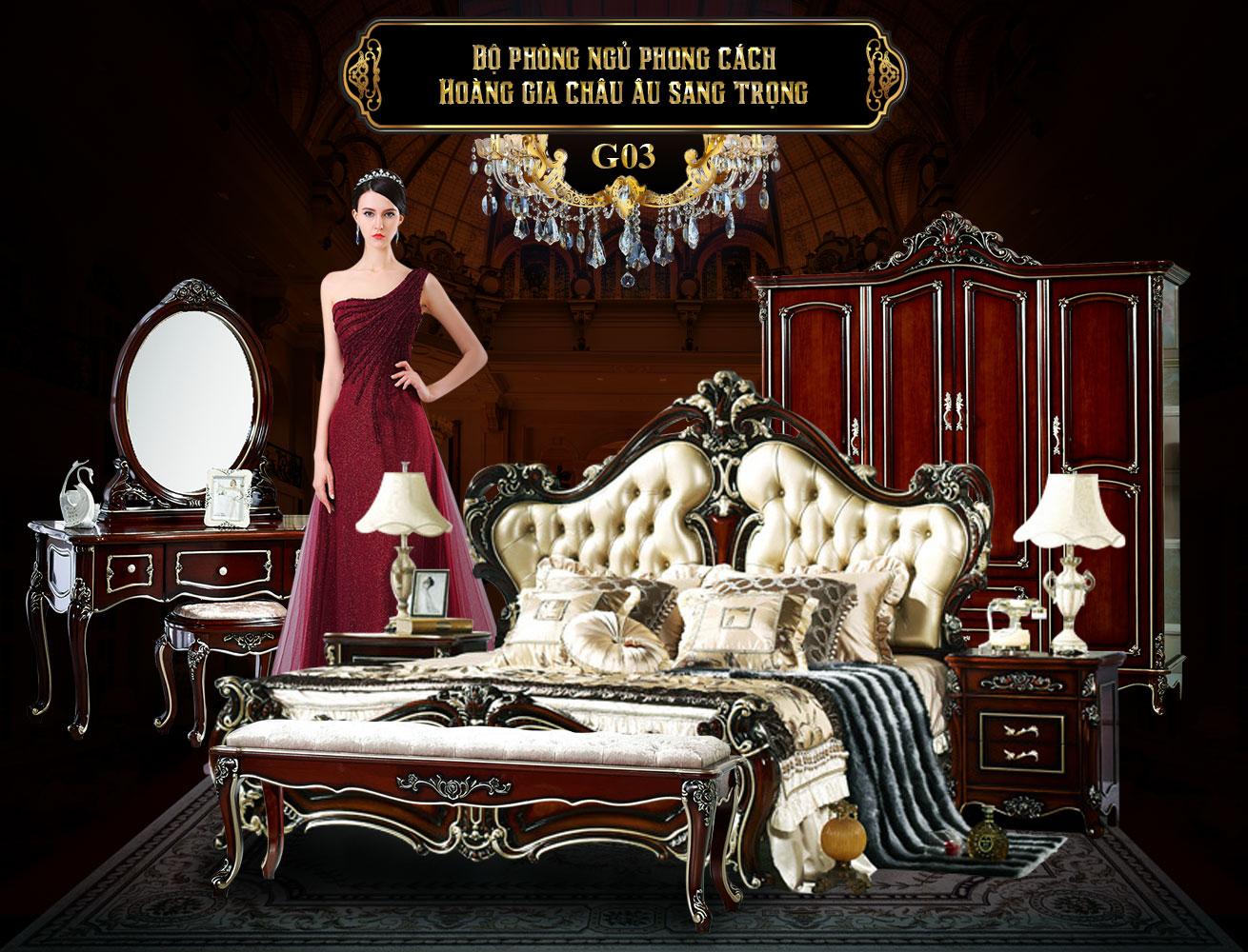 Bộ giường ngủ + tủ quần áo gỗ phong cách tân cổ điển châu âu