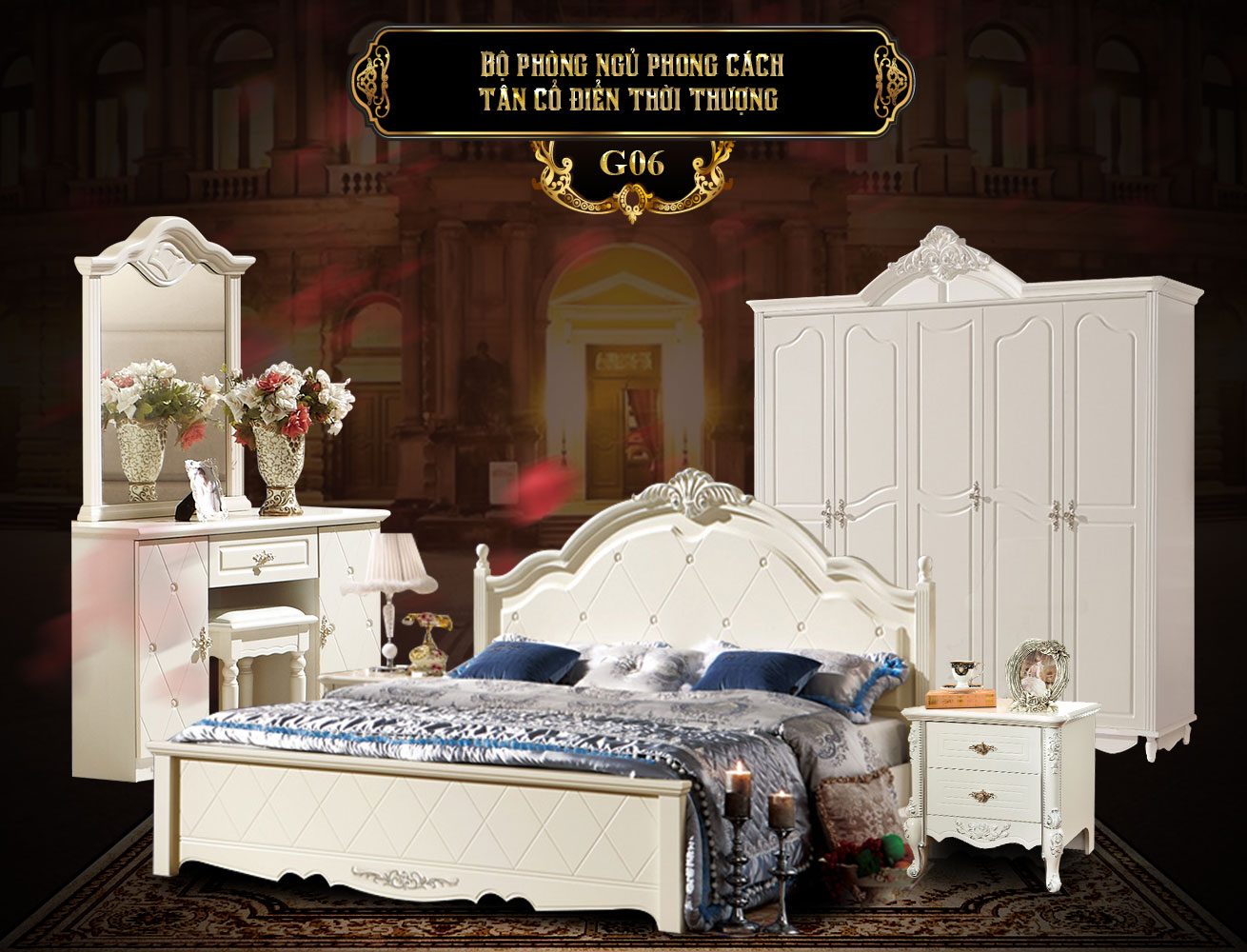 Bộ phòng ngủ phong cách tân cổ điển G06b   nội thất phòng ngủ đẹp G06   Giường ngủ tân cổ điển đẹp G06