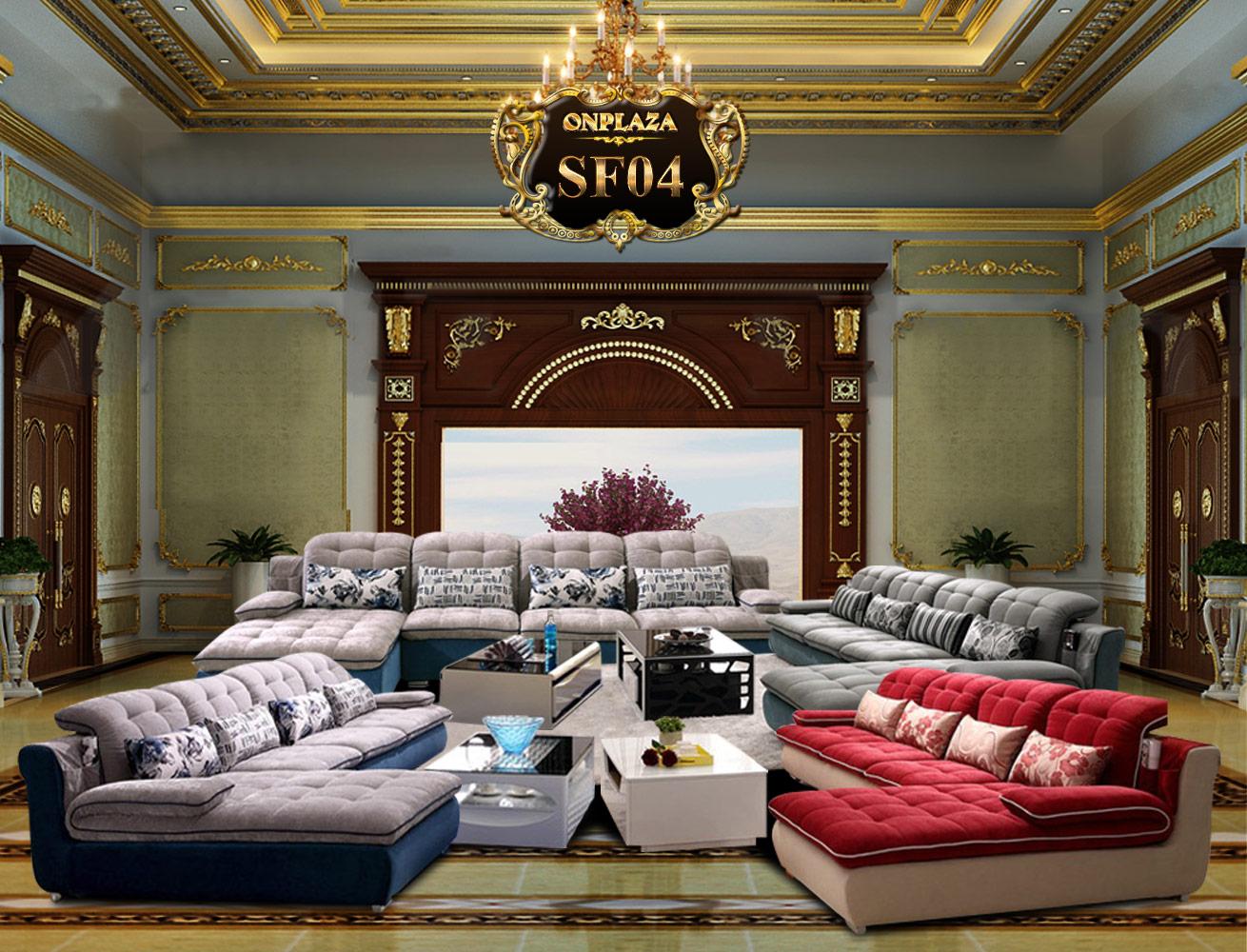 Banner bộ sofa phòng khách góc chữ L bọc nỉ SF04