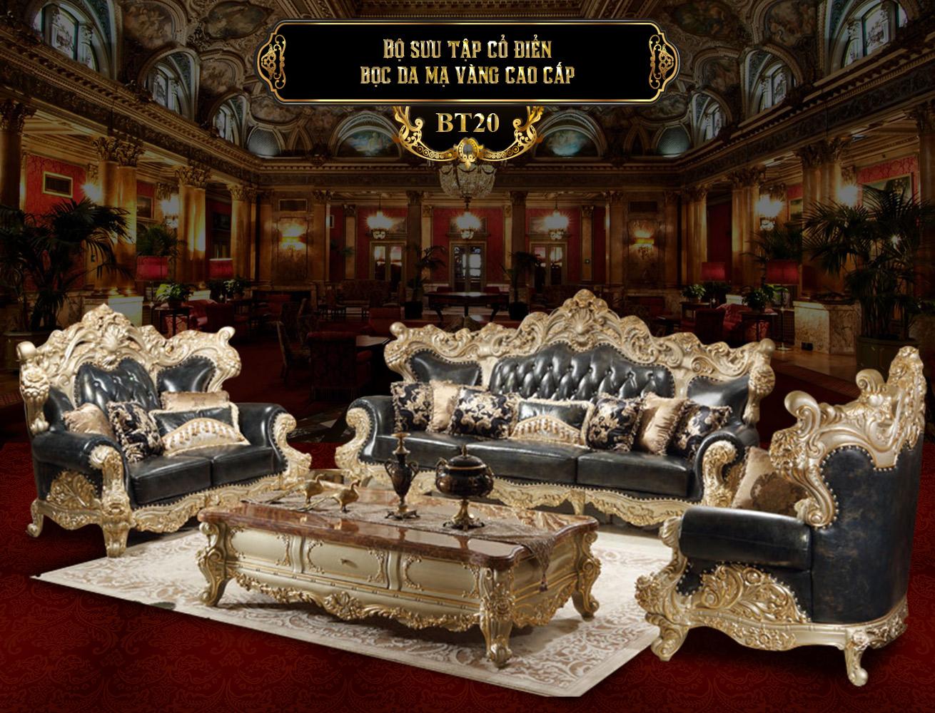 Bộ bàn ghế phòng khách tân cổ điển châu âu BT20