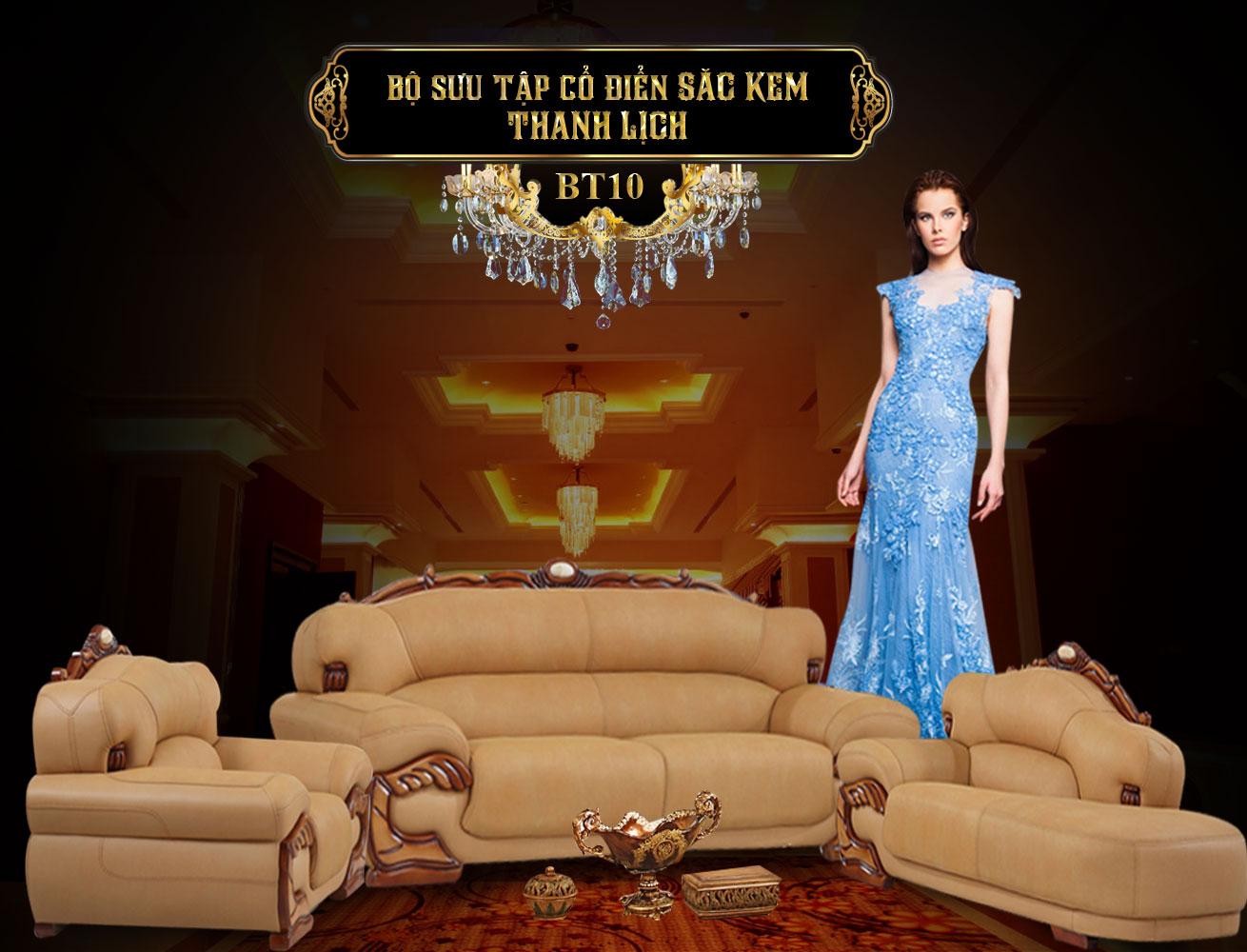 Banner nội thất phòng khách - bàn ghế sofa bọc da sang trọng châu âu