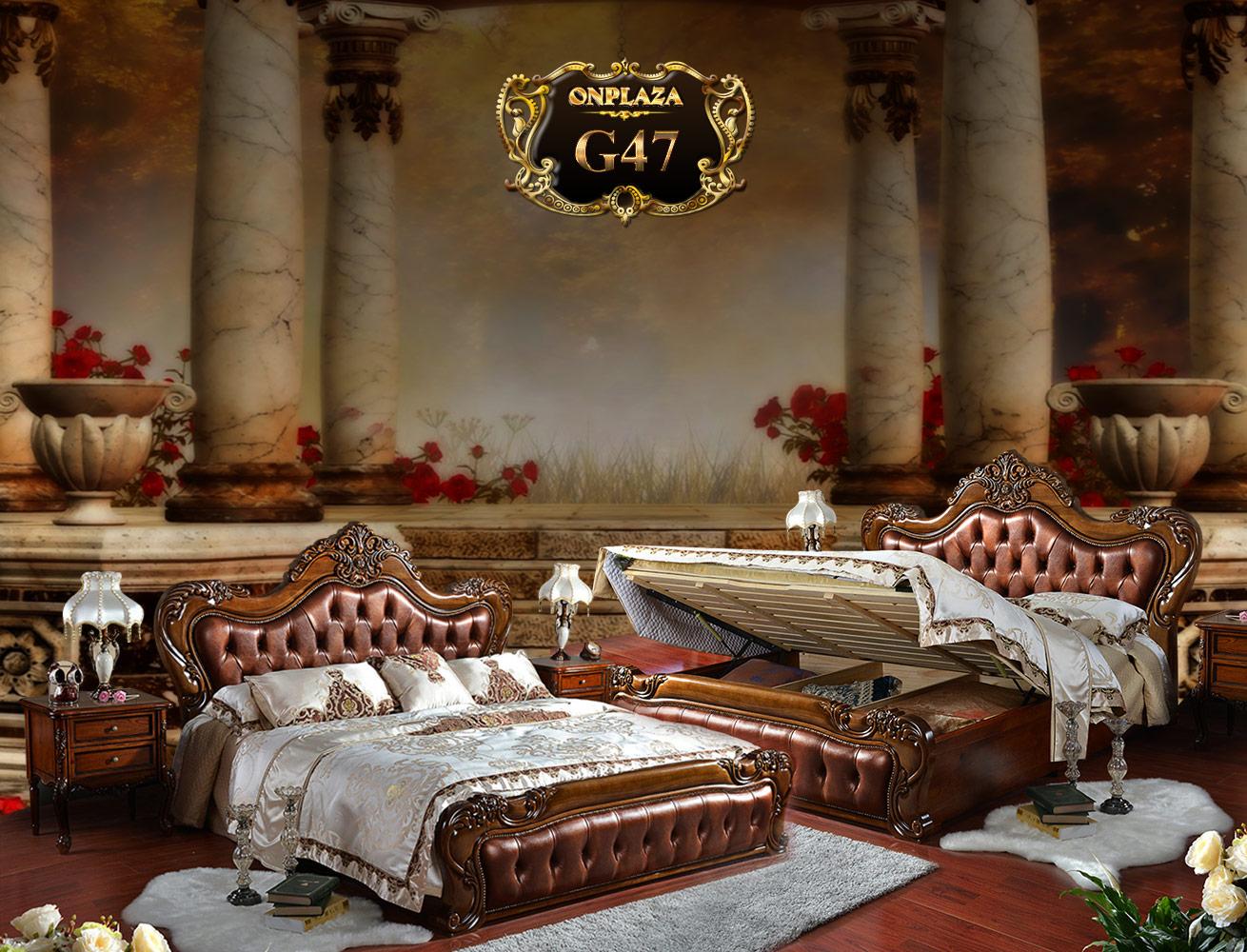 Giường ngủ bọc da cao cấp khắc gỗ cổ điển G47 | Giường ngủ cổ điển giá rẻ | Giường gỗ cổ điển tại Hà Nội