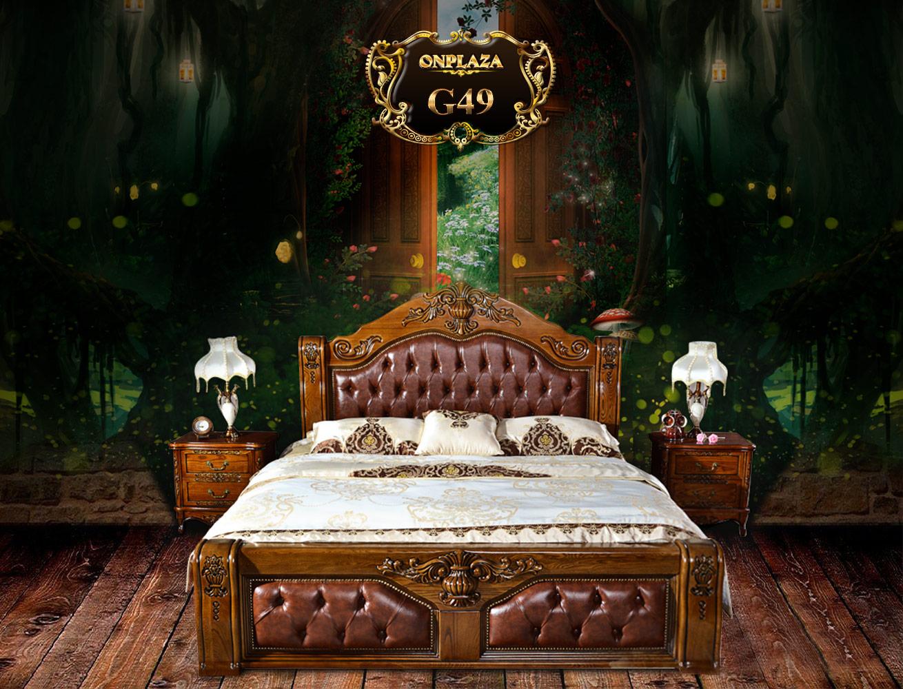 Banner giường ngủ cổ điển châu âu bọc da sang trọng
