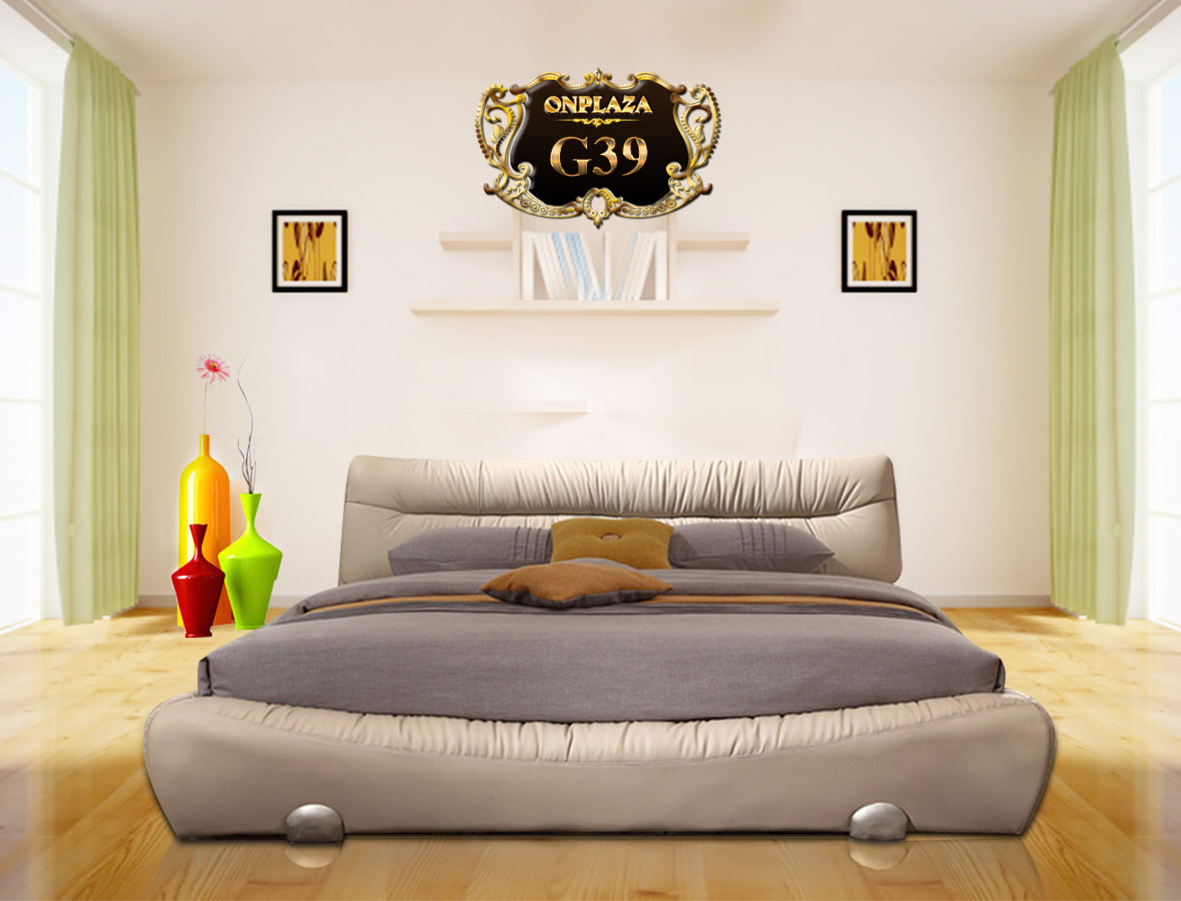 Banner giường ngủ hiện đại bọc da G39