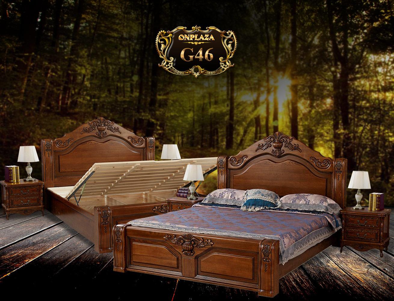 Giường ngủ khắc gỗ cổ điển sắc nâu G46   Giường ngủ gỗ tự nhiên cao cấp   Giường ngủ gỗ đa năng