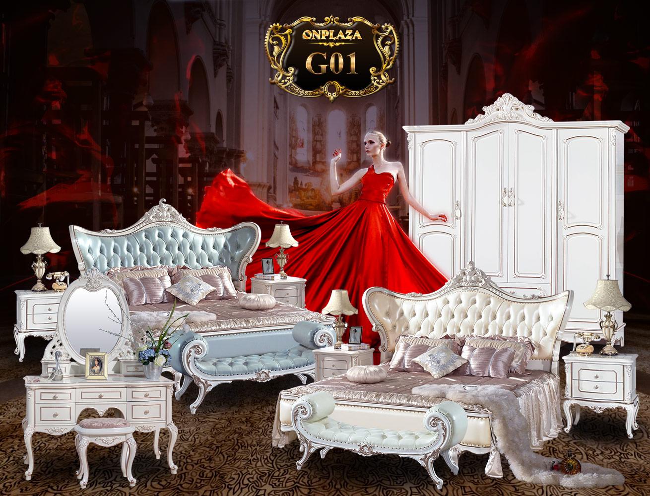 Giường ngủ tân cổ điển phong cách Châu Âu G01A-1, giường tân cổ điển bằng gỗ tự nhiên nhập khẩu