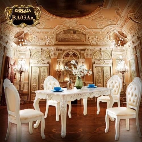 Bộ bàn ăn 4 ghế đá cẩm thạch trắng tân cô điển sang trọng BA03Aa