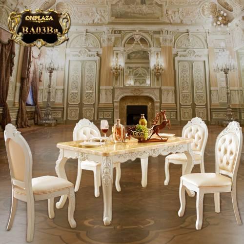 Bộ bàn ăn 4 ghế đá cẩm thạch BA03Ba