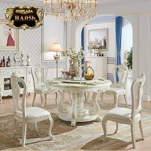 Bộ bàn ăn 4 ghế  kiểu bàn tròn xoay phong BA05b