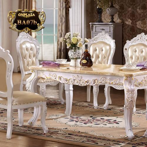 Bộ bàn ăn 4 ghế đá hoa cương trắng lịch lãm BA07b