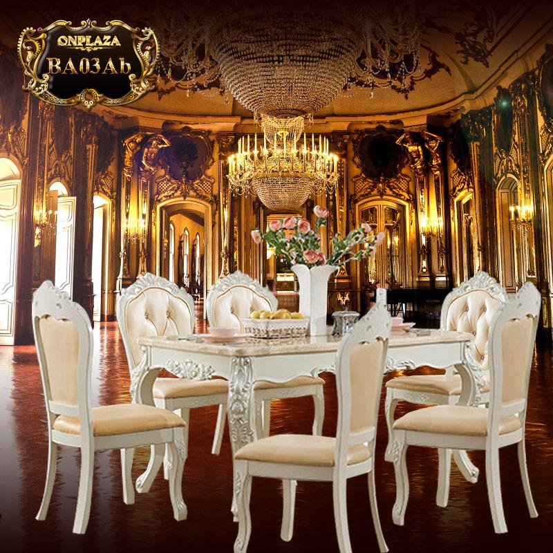 Bộ bàn ăn 6 ghế đá cẩm thạch trắng tân cổ điển sang trọng BA03Ab