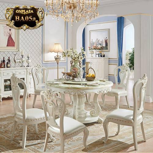 Bộ bàn ăn 6 ghế kiểu bàn tròn xoay BA05a
