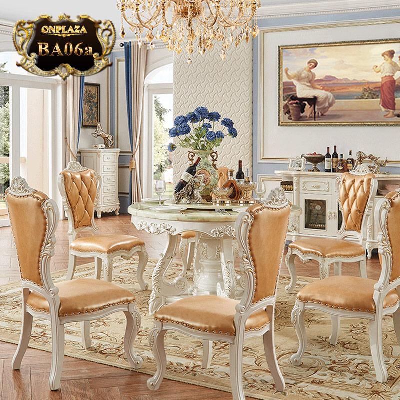 Bộ bàn ăn 6 ghế kiểu bàn tròn xoay phong cách châu âu sang trọng PN55-1