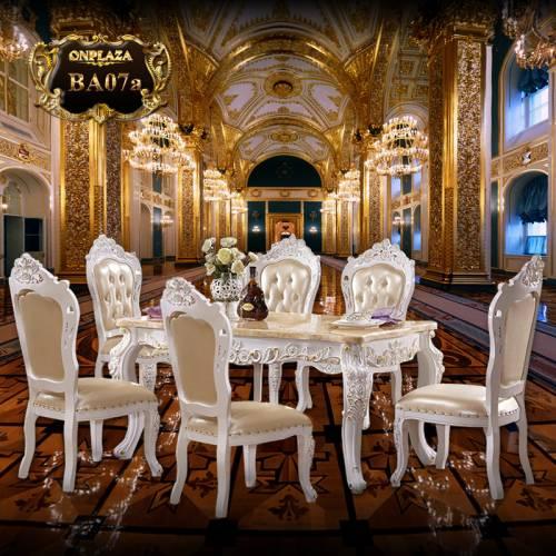 Bộ bàn ăn 6 ghế cẩm thạch nhập khẩu cao cấp BA07a