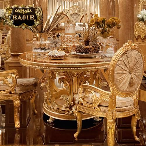 Bộ bàn ăn tròn tân cổ điển cao cấp nhập khẩu châu âu BA01B