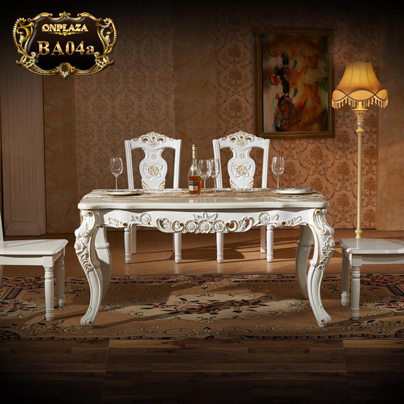 Bộ bàn ăn 4 ghế đá hoa cương trắng lịch lãm BA04a