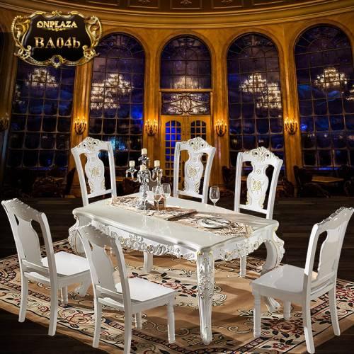 Bộ bàn ăn 6 ghế đá hoa cương trắng lịch lãm BA04b