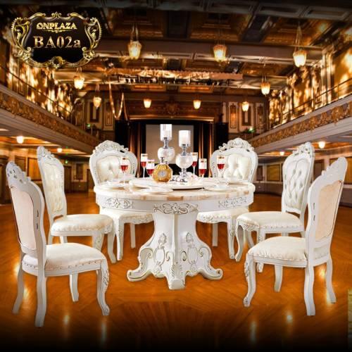 Bộ bàn ăn 6 ghế kiểu bàn tròn xoay BA02a