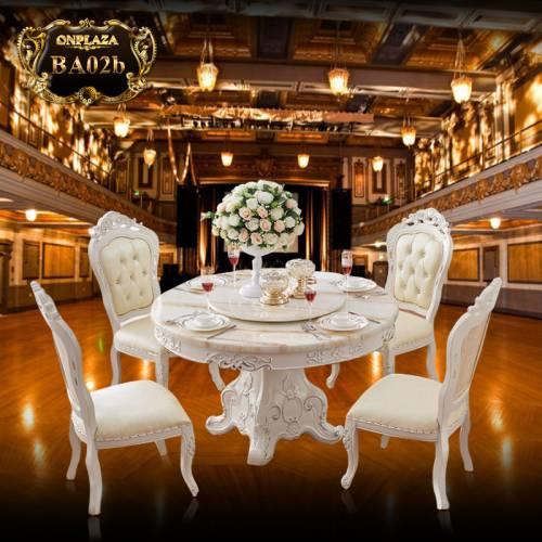 Bộ bàn ăn 4  ghế  kiểu bàn tròn xoay phong cách châu âu BA02b