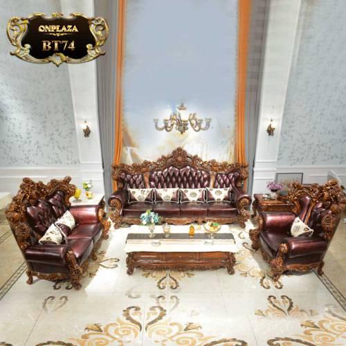 Bộ bàn ghế sofa quý tộc Châu Âu cho nhà biệt thự BT74