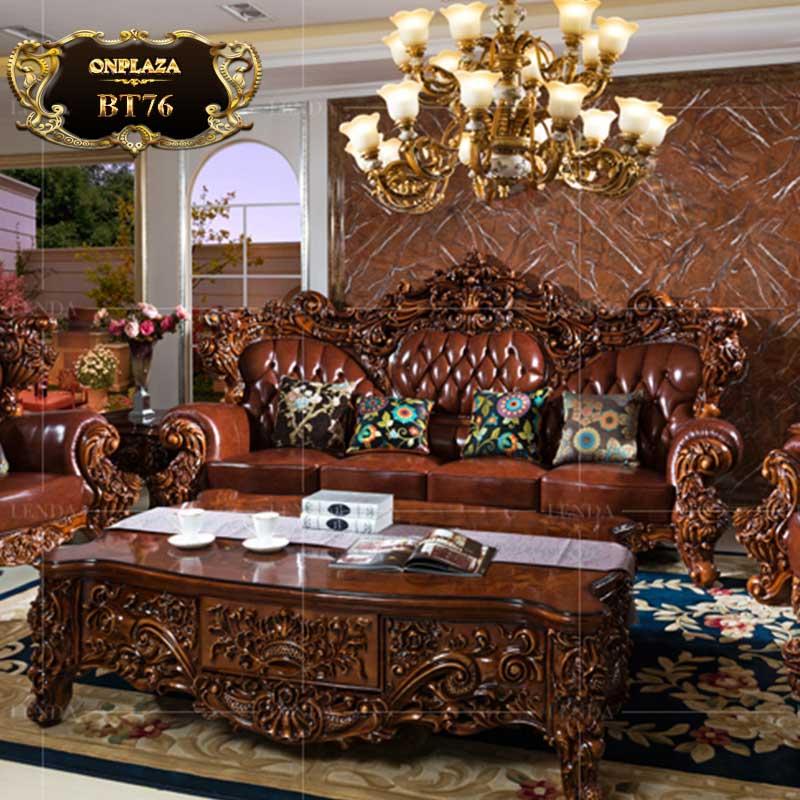 Bộ bàn ghế sofa chạm khắc cổ điển 2 mặt tinh xảo BT76