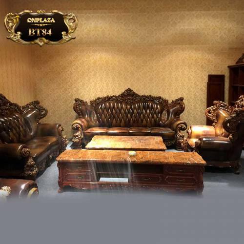Bộ bàn ghế sofa da điêu khắc cho phòng khách biệt thự BT84