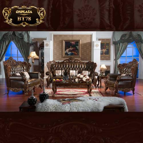 Bộ bàn ghế sofa da cổ điển chạm khắc hoa văn 2 mặt phong cách Châu Âu BT78