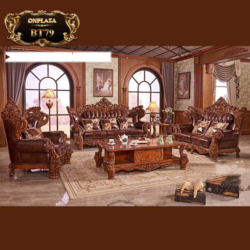 Bộ bàn ghế sofa da khắc 2 mặt tinh xảo theo phong cách quý tộc Châu Âu BT79