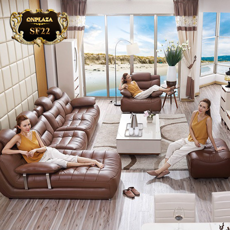 Bộ bàn ghế phòng khách sofa đẹp bọc da bán tại đà nẵng
