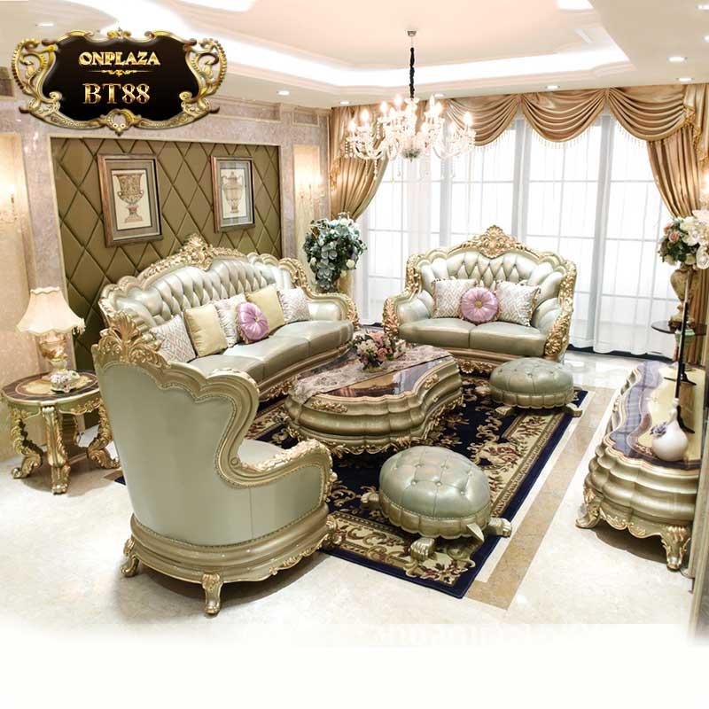 Bộ bàn ghế sofa da nhập khẩu phong cách quý tộc BT88