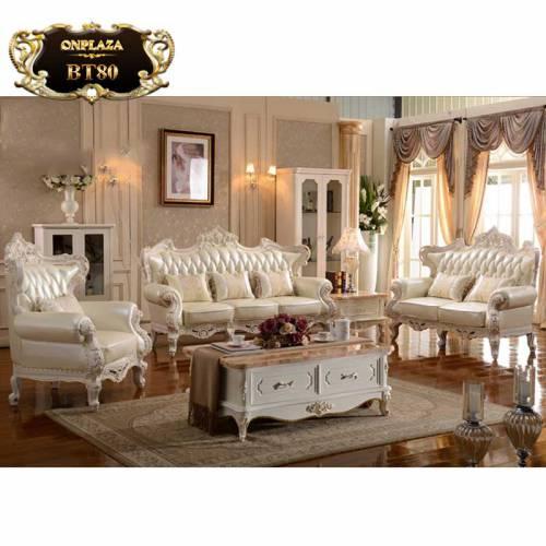 Bộ bàn ghế sofa da trắng thếp vàng chạm khắc 2 mặt phong cách Châu Âu BT80